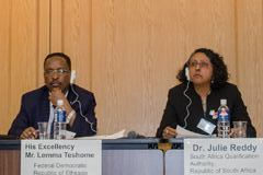 Lemma Teshome, state minister, Ministry of Education, Federal Democratic Republic of Ethiopia (Left) and Julie Reddy, deputy chief executive Officer, South Africa Qualification Authority, Republic of South Africa